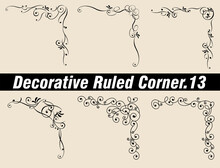 Decorative Ruled Corner, Decorative Ruled Line, Frame Illustration Material Set