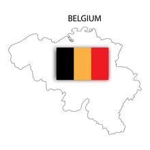 Belgium Flag On Map. National Flag Graphic Design. Europe Map Vector. Vector Illustration. Stock Image. E