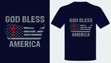 God Bless America Usa Grunge Flag Christian Tshirt Design
