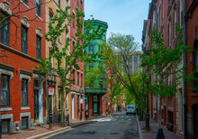 Historic Buildings On Myrtle Street Between Garden Street And Anderson Street On Beacon Hill, Boston, Massachusetts MA, USA.