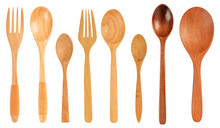 Set Of Wooden Spoon And Fork Isolated On White Background.