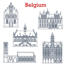 Belgium Landmarks Architecture, City Sightseeing Buildings, Churches Icon. Belgium Travel Landmark Notre Dame In Damme, Butcher Hall Or Meat House Vleeshuis In Werne, Town Hall Stadthuis In Oudenaarde