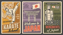 Japan Martial Art, Sacred Places Retro Posters. Karate Fighter In Kimono Striking High Kick, Ushiku Great Buddha Statue And Torii Gate Vector. Karate School, Welcome To Japan Vintage Banners