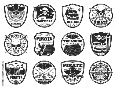 Piracy and pirate heraldic icons, vector Jolly Roger skulls or skeleton heads, black flag, cannon and guns Fotobehang