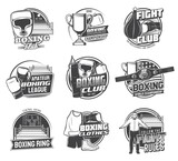 Boxing sport icons of vector box punching bags, boxer gloves and helmets. Boxing championship ring, belt, winner trophy cup and score board, referee and uniform isolated monochrome symbols, emblems