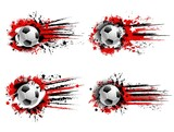 Soccer football sport grunge banners. Flying soccer ball, red and black paint splashes, drops and traces, grungy background with halftone and stars. Team sports tournament banner with paint smudges