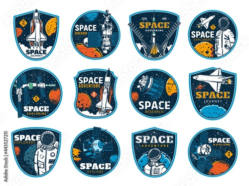 Tela Space and galaxy discovery icons, rockets and spacecrafts launch to planets, vector signs
