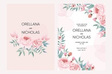 Set Of Wedding Card Collection With Pink  Floral Theme