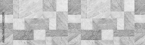 Billede på lærred Panorama of white tiles wall and floor texture background, abstract marble grani