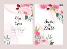 Wedding Card Collection With Elegant Rose Floral Illustration Vector