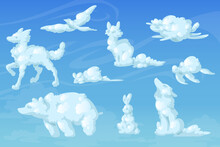 White Clouds In Shape Of Cute Animals. Fox, Dog, Bear, Little Mouse, Turtle, Wolf, Bird And Rabbit Silhouettes On Background Of Blue Sky. Vector Realistic Soft Fluffy Clouds In Form Of Funny Animals