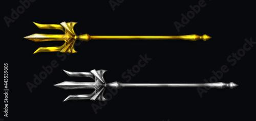 Valokuvatapetti Gold and silver trident, devil pitchfork isolated on black background