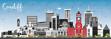 Cardiff Wales City Skyline With Color Buildings And Blue Sky.