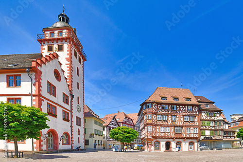 Fototapeta Mosbach, Germany - June 2021: Old city hall and half timbered buildings at histo
