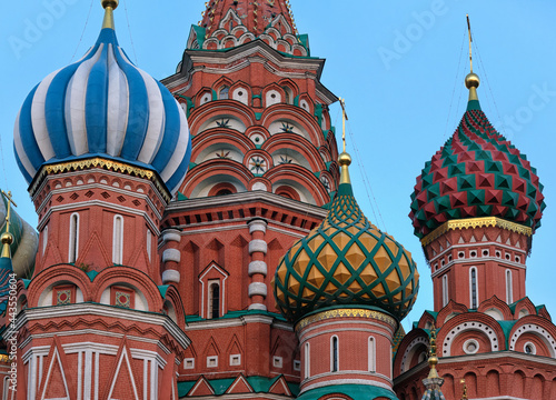 Photo Moscow, Russia - 06.24.2021: St. Basil cathedral cupolas