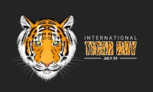 Vector Illustration, International Tiger Day Is Observed Every July 29, Against A Dark Background, An Annual Celebration To Raise Awareness Of Tiger Conservation.