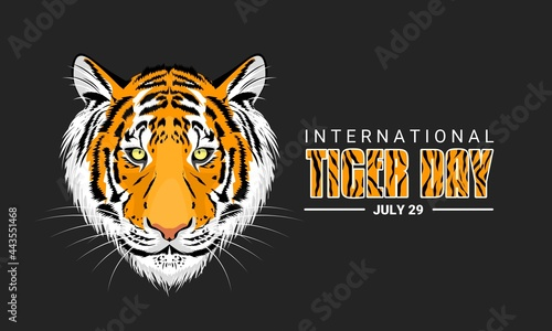 Foto Vector Illustration, International Tiger Day is observed every July 29, against a dark background, an annual celebration to raise awareness of tiger conservation
