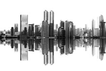 Modern Building And Skyscrapers View With Reflection