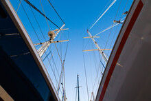 The Bottom View Of The Sailing Yachts.