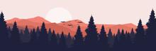 Moonrise In Mountain Landscape Vector Illustration Design For Wallpaper Design, Design Template, Background Template, And Tourism Design Template