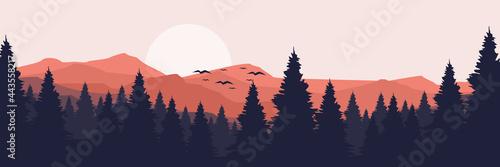 Valokuva moonrise in mountain landscape vector illustration design for wallpaper design,