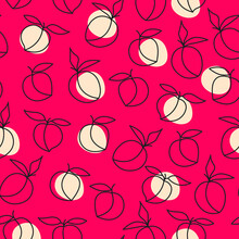 Peach Seamless Pattern. Abstract Fruit Background For Stationery, Fabric, Website. Vector Illustration Of Nectarines.