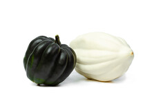 Two Pumpkins White And Dark Green On A White Isolated Background. Food Photo