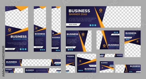 Obraz na plátně Set of business web banner templates with different standard size