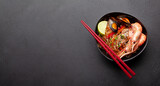Fototapeta Kawa jest smaczna - Wok with stir fried noodles, shrimps and vegetables