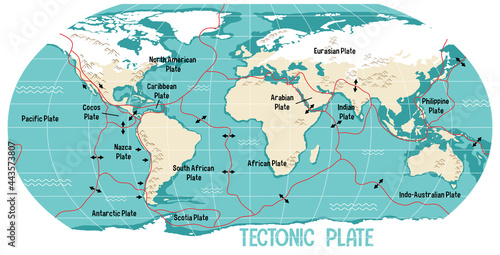 Fotografie, Obraz World Map Showing Tectonic Plates Boundaries