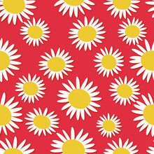 Seamless Pattern With White Daisy, Red Background, Yellow Color Floral Drawing