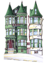 Old Vintage Architectural Buildings With Bay Window And Dome Green Travel Sketch San Francisco