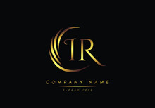 Alphabet Letters IR Monogram Logo, Gold Color Elegant Classical