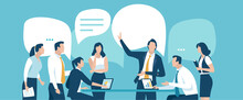Business Meeting. Teamwork And Communication Concept. Vector Illustration.