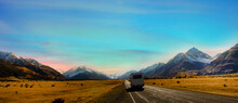 Banner Of Traveling On The Road With Mountain Range Near Aoraki Mount Cook And The Road Leading To Mount Cook Village  In New Zealand