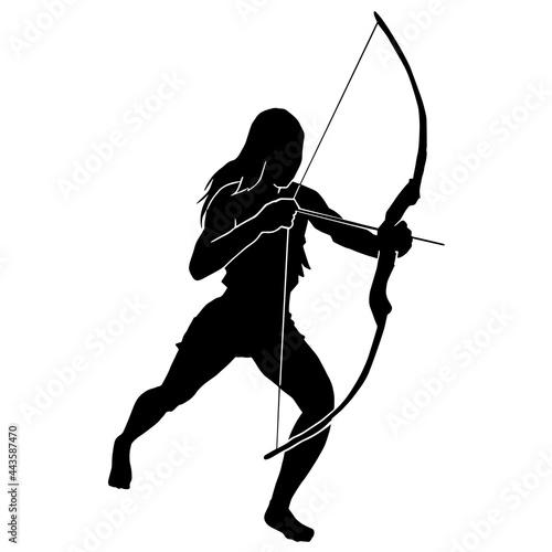 female archer warrior action pose silhouette Fototapet