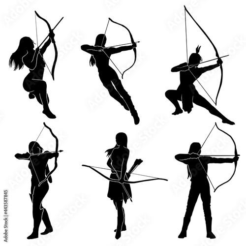 Fényképezés female archer warrior action pose silhouette
