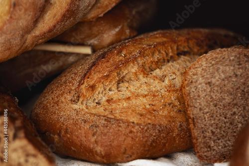 Obraz na plátně Macro shot of freshly baked bread loaf