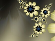 Original Fractal Image With Green  Flowers. Template With Place For Inserting Your Text. Fractal Art As Background...