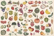 Hand Drawn Vegetables And Fruits Patterned Background Illustration