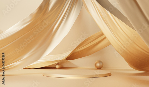 Fotografie, Obraz Display fabric flutter gold color product 3D background with geometric shapes, p