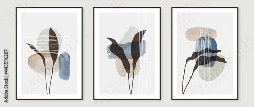 Abstract art background vector. Minimal hand painted watercolor and floral line art illustration. Design for wall decoration, wall arts, cover, postcards, brochure.