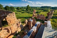 Belorussian Attraction - Ruins Of Old Ancient Castle In Golshany Village, Grodno Region, Belarus.