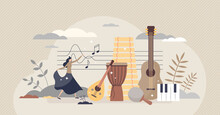 Ethnomusicology Music Study Or Ethnic Folklore Research Tiny Person Concept. Songs And Instruments Learning From Social And Cultural Contexts Vector Illustration. Education About Old Notes And Melody.