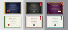 Big Set Of 9 Diploma Or Certificate Design Template. Ready For Print. Vector.