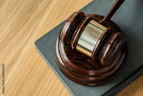 Obraz na plátně Closeup of gavel judgement concept