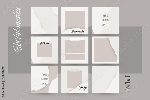 Instagram social media story post background. ripped torn paper texture template mockup in neutral nude color. abstract simple universal layout for square booklet, brochure, flyer. for beauty, make up