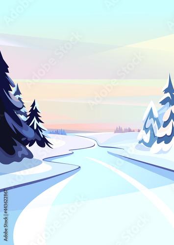 Frozen river at dawn. Winter scenery in vertical orientation.