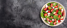 Summer Fruit Strawberry, Spinach Salad With Nuts, Feta Cheese Balsamic Vinegar, Detox And Healthy Superfoods Concept. Banner, Menu, Recipe Place For Text, Top View