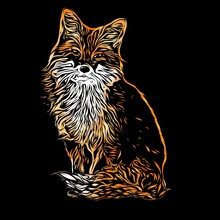 Red Fox Illustration In Abstract Style On Black Background